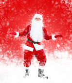 Happy Santa Claus full length portrait hands wide open — Stock Photo