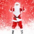 Santa Claus with thumbs up gesture full length portrait — Stock Photo