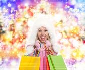 Zimní nákupní žena — Stock fotografie
