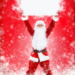 Santa Claus holding Banner — Stock Photo