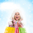 Winter shopping woman — Stock Photo