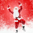 Happy Santa Claus full length portrait dancing — Stock Photo