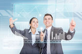 Business team working with virtual touch screens — Stock Photo