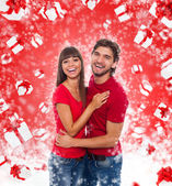 Christmas excited couple — Foto de Stock