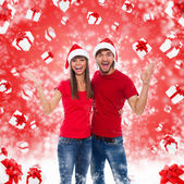 Christmas excited couple — Stock Photo