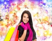 冬のショッピング女性 — ストック写真