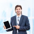 Business man happy smile hold tablet pad computer — Stock Photo