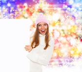 Winter happy girl hold sale — Stock Photo