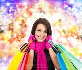 Winter shopping woman — Stock Photo