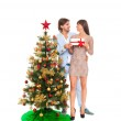 Christmas holiday happy couple hold present gift — Stock Photo #34996517