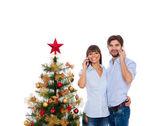 Christmas holiday happy couple, new year decorated tree — Stock Photo