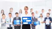 Tired overworked business woman hold folder stack — Stock Photo