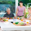Big family have dinner at home — Stock Photo #43555335