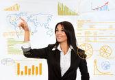 Biznes kobieta rysunek wykres — Zdjęcie stockowe