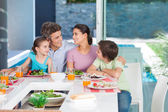 Big family dinner at home — Stock Photo