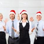 Businesspeople in santa hat — Stock Photo