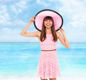 Woman wear pink dress and hat — Foto Stock