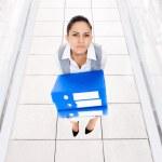 Tired businesswoman folder stack — Stock Photo #51024833