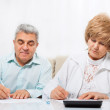Senior couple sign up document — Stock Photo #51025359