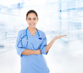 Doctor woman with stethoscope — Stock Photo