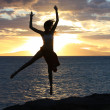 Girl jumping silhouette — Stock Photo