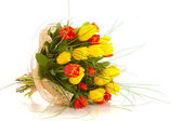 Bouquet tulips , isolated — Stock Photo