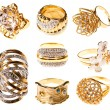 Stock Photo: Set gold rings, isolated