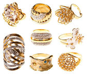 Set gold rings, isolated — Stock Photo