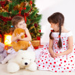 Girls at a New Year tree - Foto de Stock