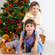 Girls at a New Year tree — Foto Stock