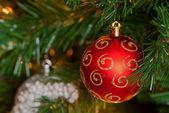 Red Christmas ball ornament — Stock Photo