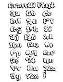 Graffiti Outline Font — Stock Vector