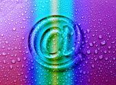 E-mail abstrata em bolhas de líquido para o site — Foto Stock