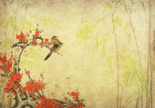 Birds on plum blossom and bamboo on paper background — Stock Photo