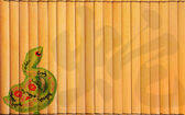 Design of chinese Year of the Snake on bamboo — Stock Photo