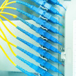 Fiber optical network cables patch panel and switch — Stock Photo #13954021