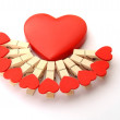 Clothes pegs with heart isolated on white background — Stock Photo