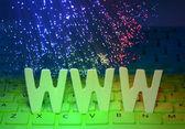 Fiber optics background with www — Stock Photo