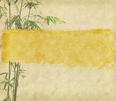Bamboo and plum blossom on antique cracked paper texture — Stock Photo