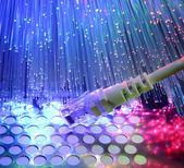Netwerk kabel close-up met vezel optische achtergrond — Stockfoto
