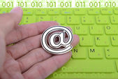 Email icon on a keyboard for business concept — Stock Photo