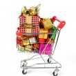 Shopping cart with Christmas gifts and presents — Zdjęcie stockowe #18437715
