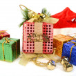 Colorful gift boxes with ribbon and bow — Foto Stock