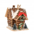 Christmas decorations-wooden cottage — Stock Photo