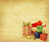 Vánoční koule na vinobraní vánoční pozadí — Stock fotografie