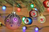 Vánoční dekorace s osvětlením — Stock fotografie