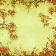 Plum blossom and bamboo on old antique paper texture — ストック写真