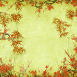 Stock Photo: Plum blossom and bamboo on old antique paper texture