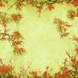 flor del ciruelo y bambú en textura de papel antiguo viejo — Foto de Stock