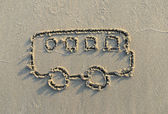 Bus drawing in the sand — Stock Photo
